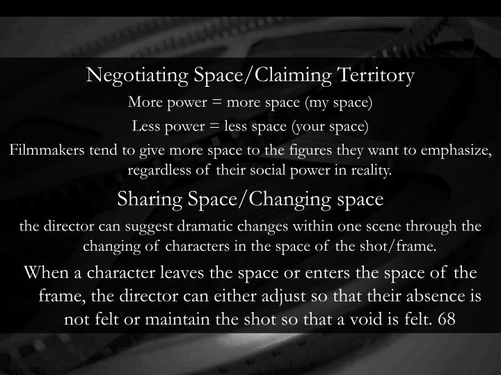 Negotiating Space/Claiming Territory