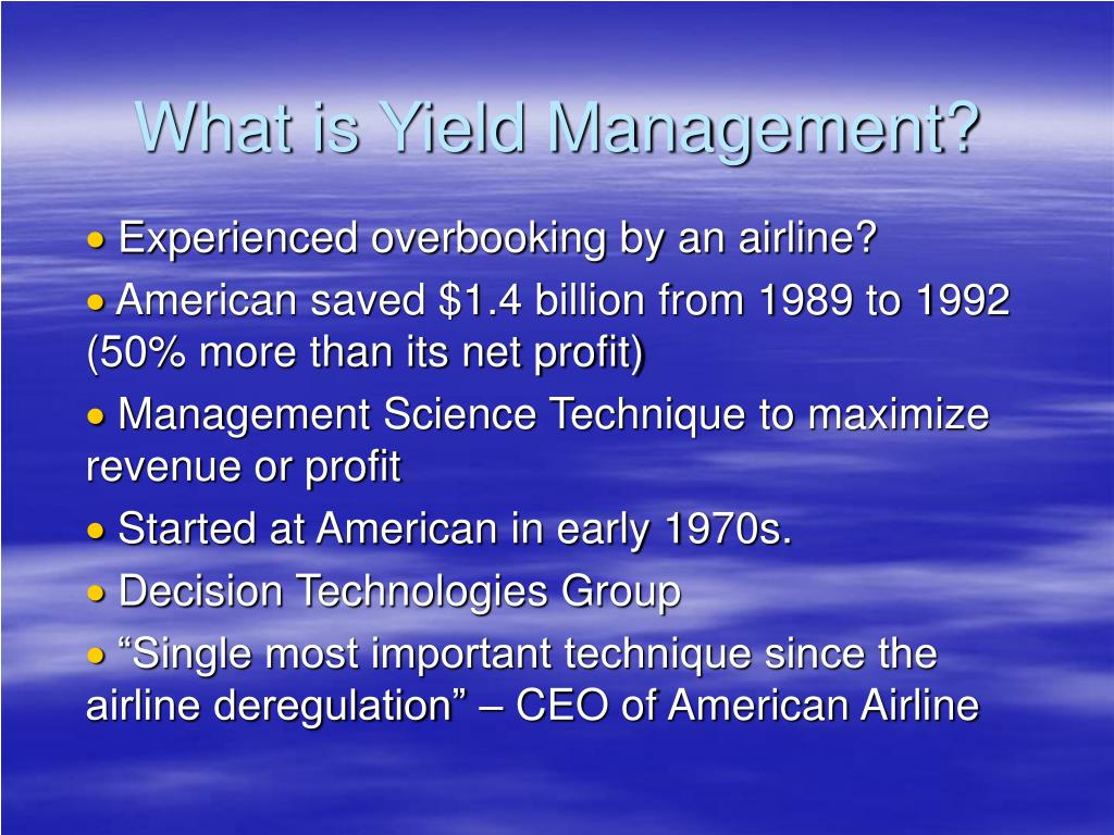 What is Yield Management?