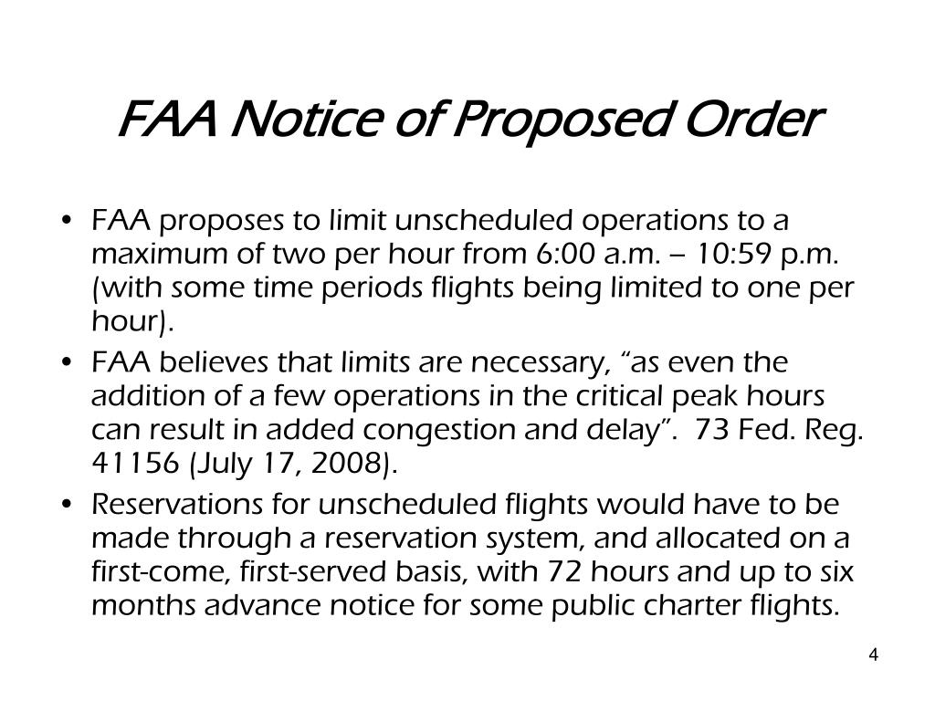FAA Notice of Proposed Order