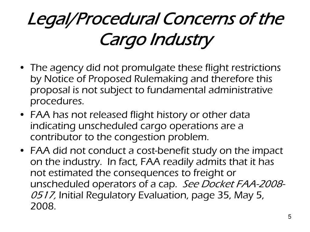 Legal/Procedural Concerns of the Cargo Industry