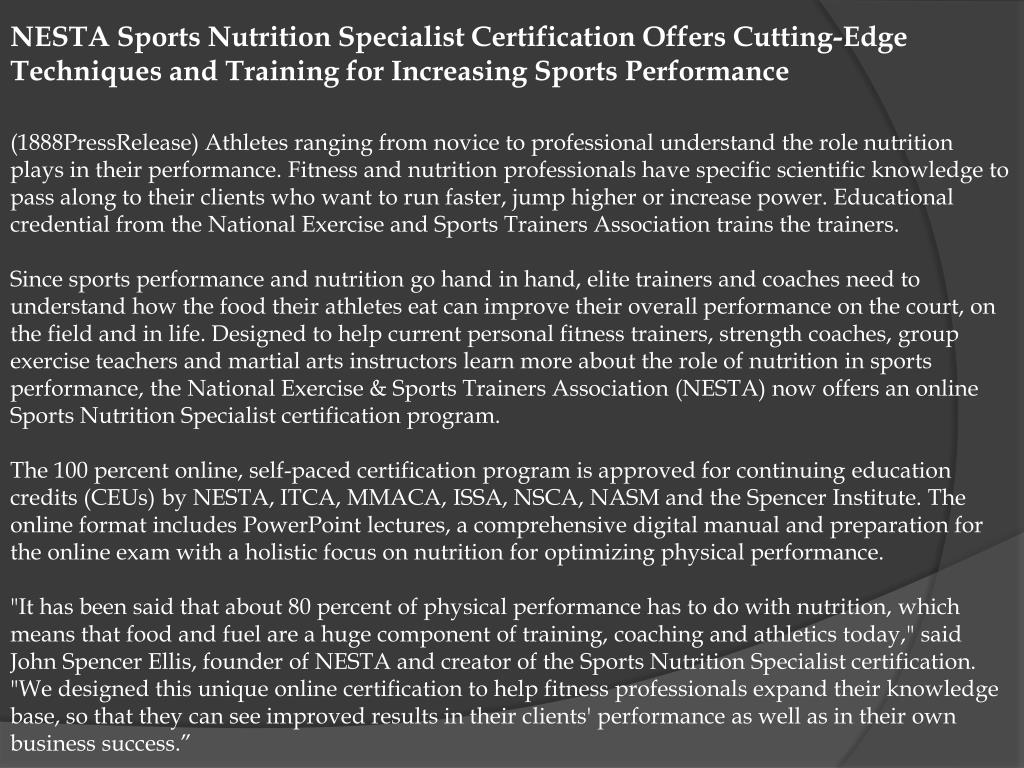 NESTA Sports Nutrition Specialist Certification Offers Cutting-Edge Techniques and Training for Increasing Sports Performance