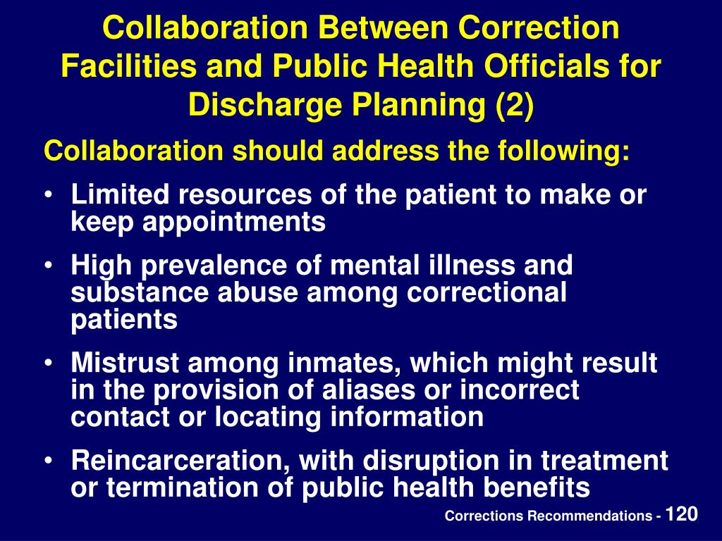 Collaboration Between Correction Facilities and Public Health Officials for Discharge Planning (2)