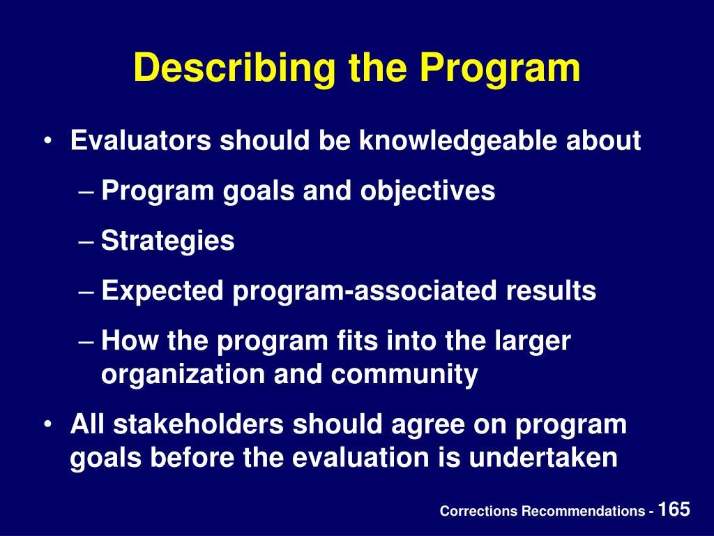 Describing the Program