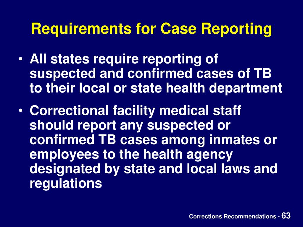 Requirements for Case Reporting