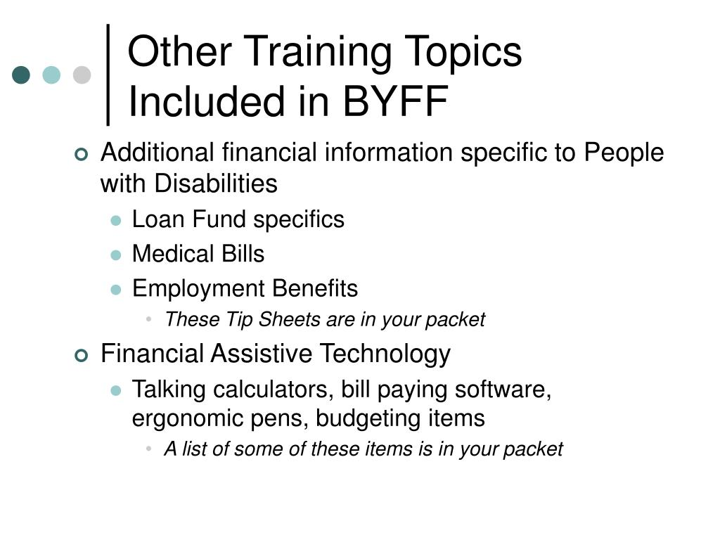 Other Training Topics Included in BYFF