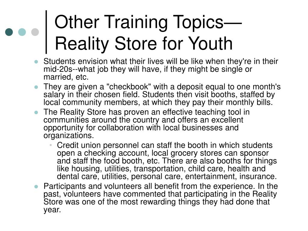 Other Training Topics—Reality Store for Youth