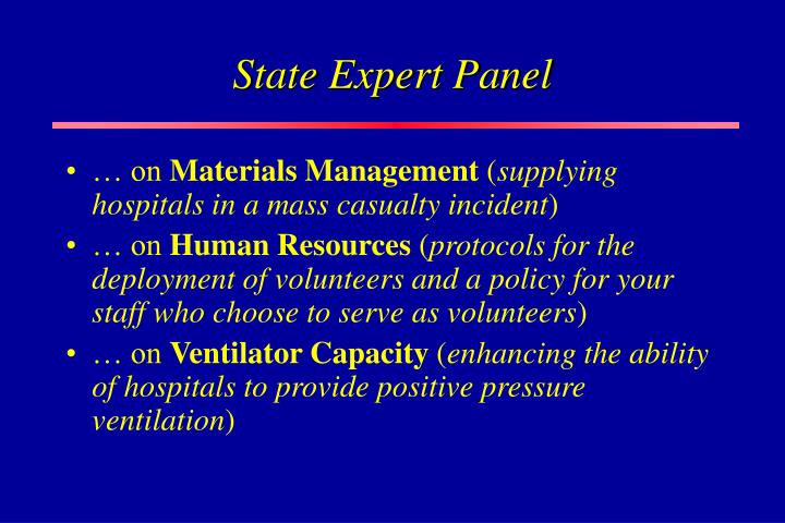State Expert Panel