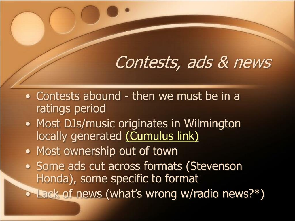 Contests, ads & news