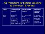 aii precautions for settings expecting to encounter tb patients