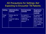 aii precautions for settings not expecting to encounter tb patients