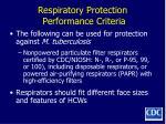 respiratory protection performance criteria