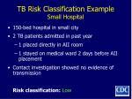 tb risk classification example small hospital