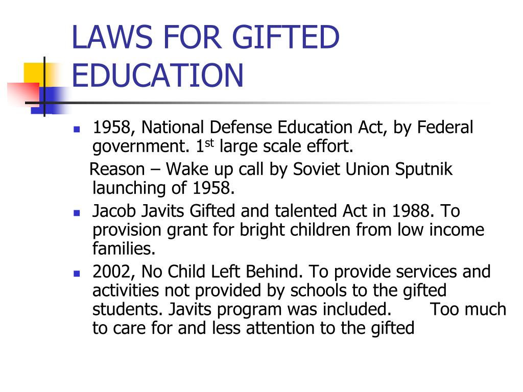 LAWS FOR GIFTED EDUCATION