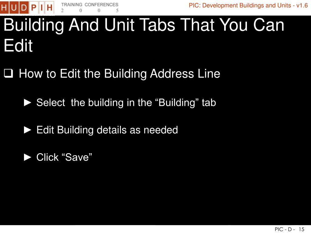 Building And Unit Tabs That You Can Edit