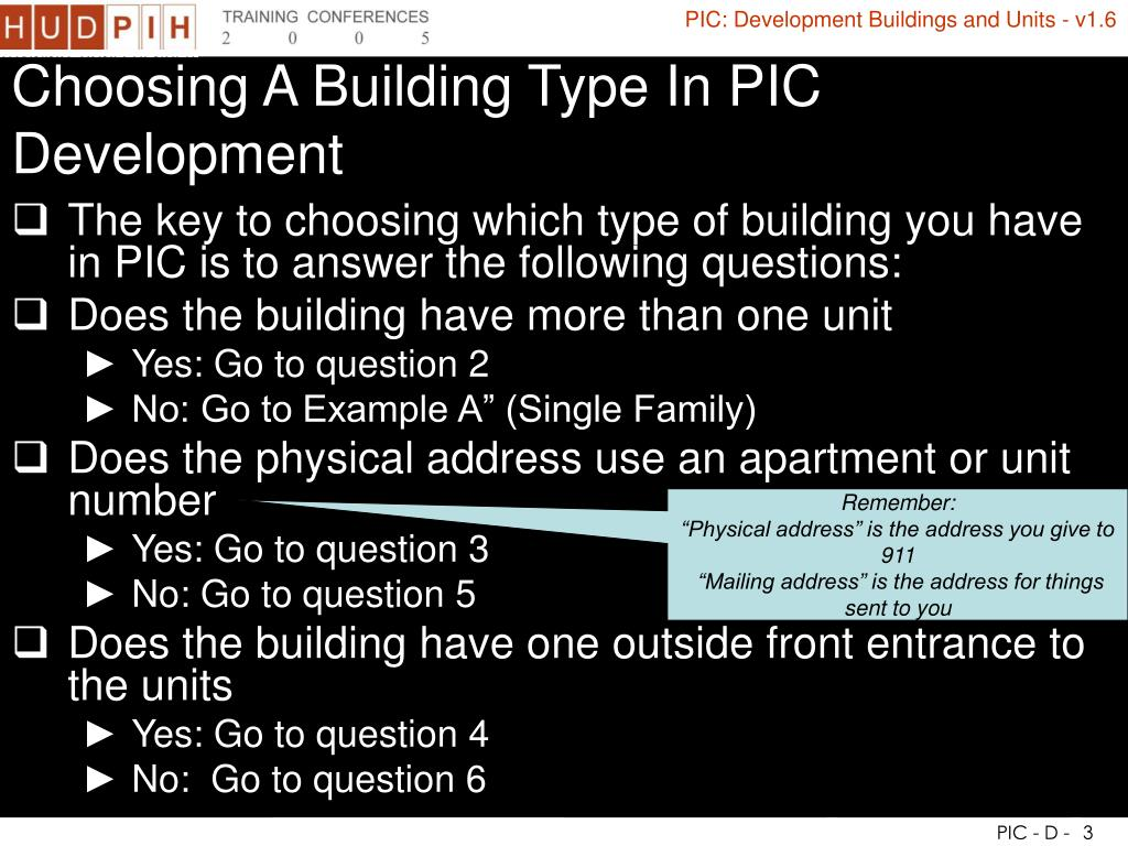 Choosing A Building Type In PIC Development