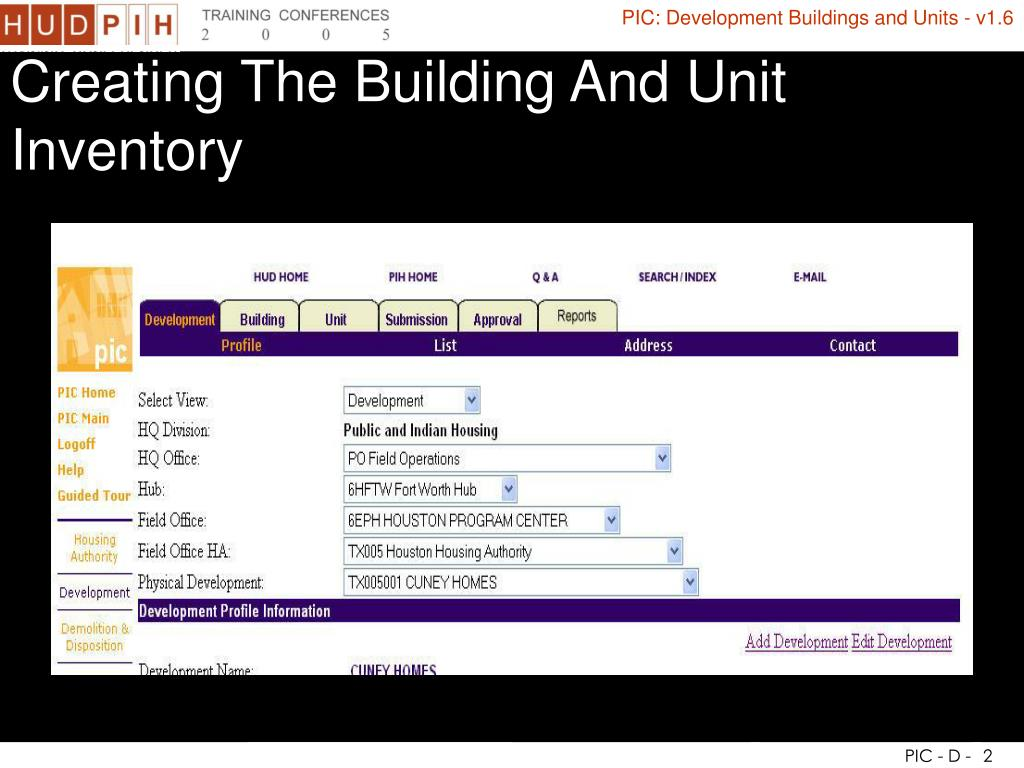 Creating The Building And Unit Inventory