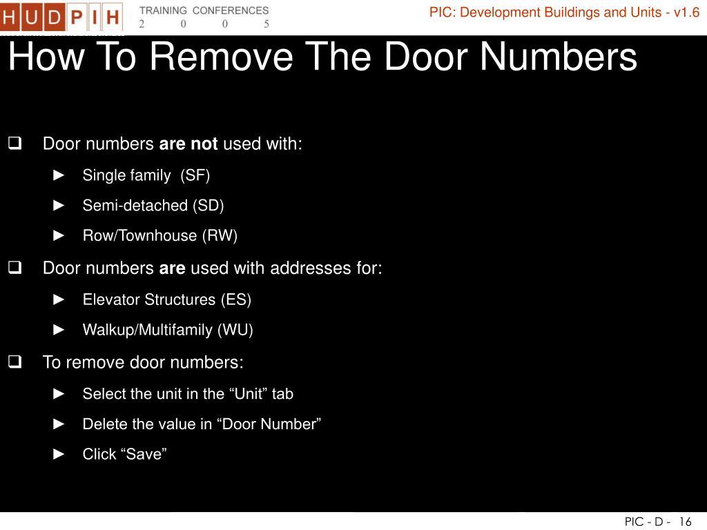 How To Remove The Door Numbers