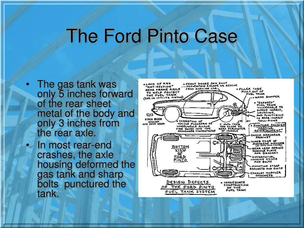 powerpoint presentation ford pinto case study Case study assignment a read the following studies 1 ford pinto in ch 12 of business ethics degeorge 2006 pp 298 299 2 issue 15 was to blame 4 taking sides newton.