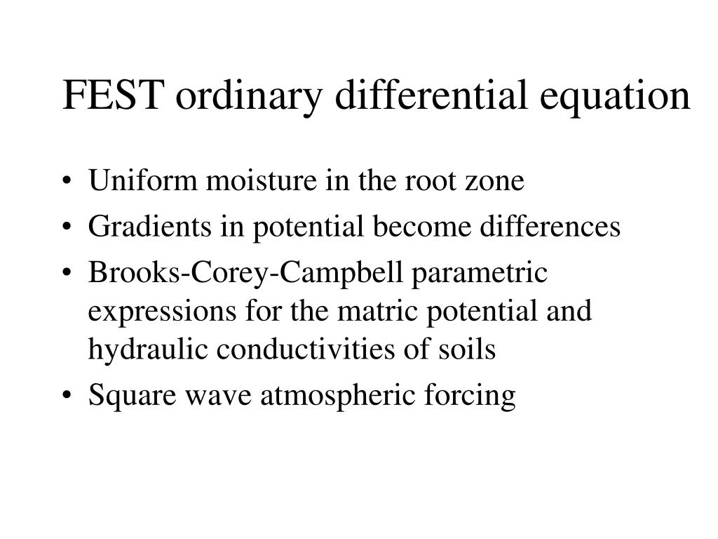 FEST ordinary differential equation