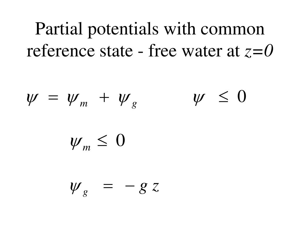 Partial potentials with common reference state - free water at