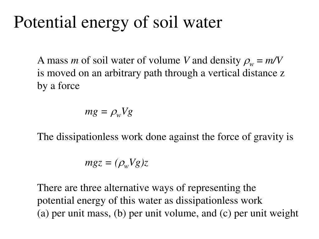 Potential energy of soil water