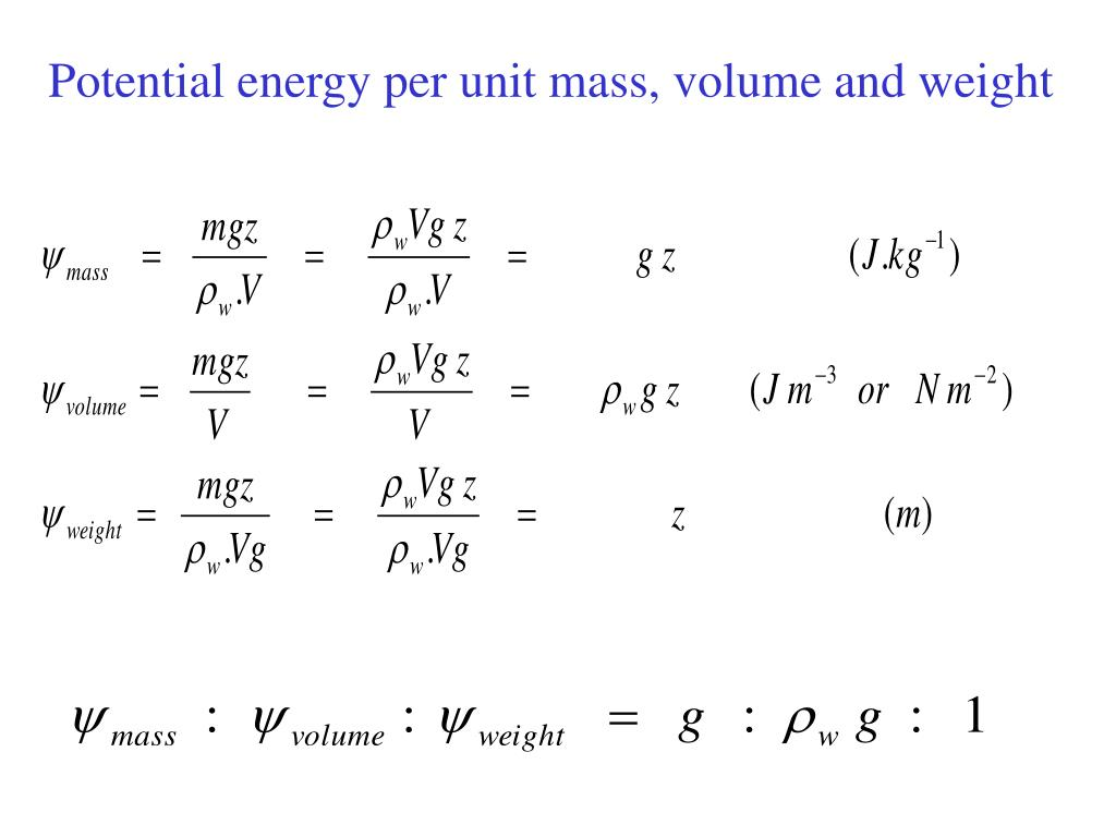Potential energy per unit mass, volume and weight