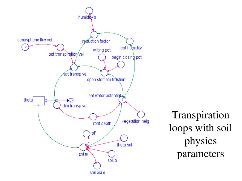 Transpiration loops with soil physics parameters