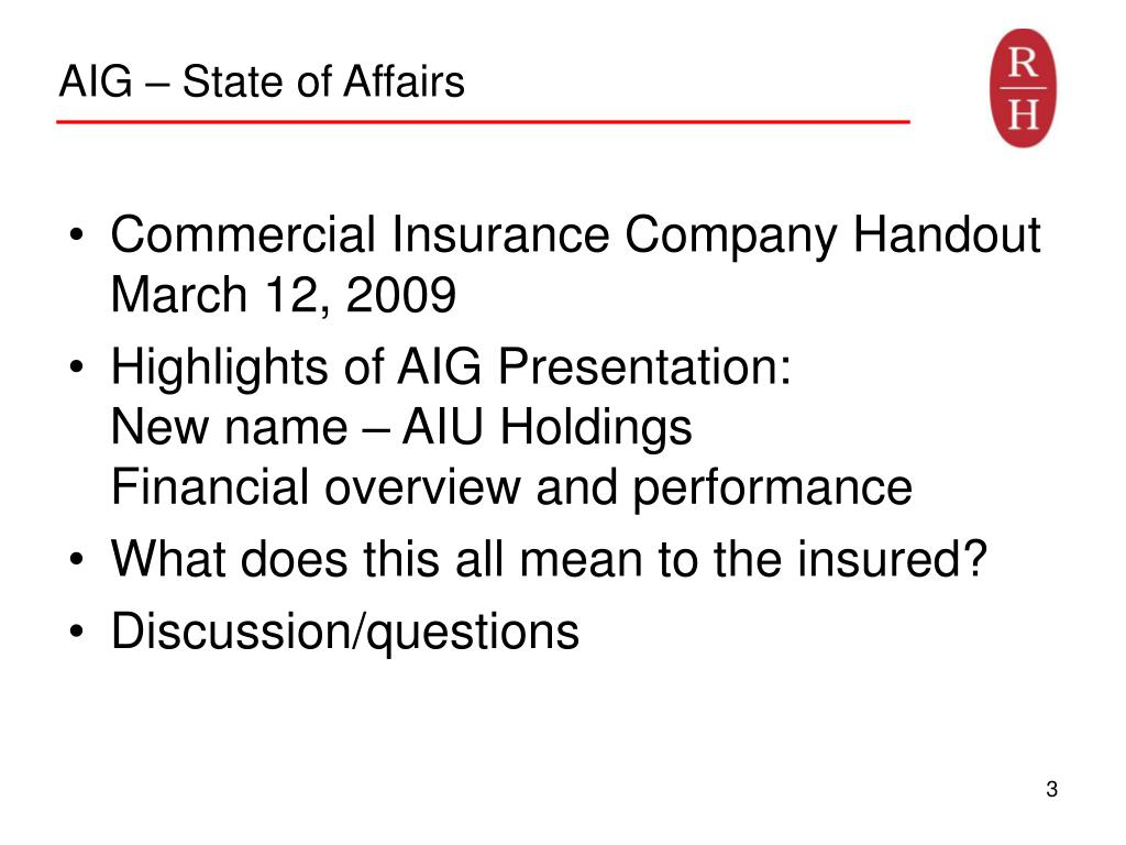 AIG – State of Affairs