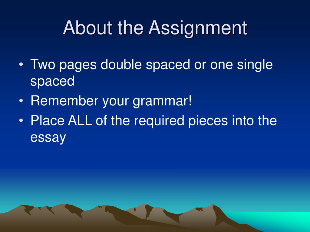 About the Assignment