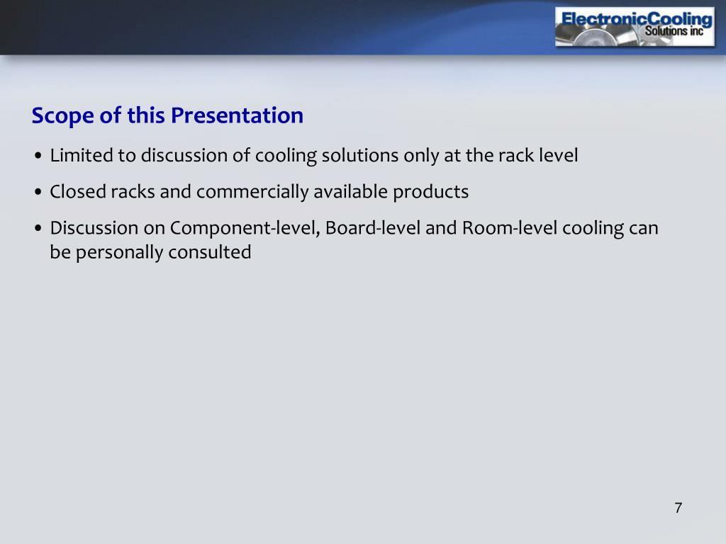 Scope of this Presentation