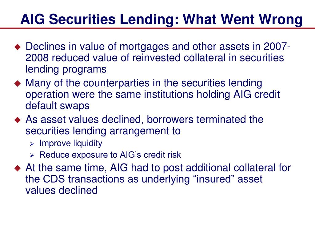 AIG Securities Lending: What Went Wrong