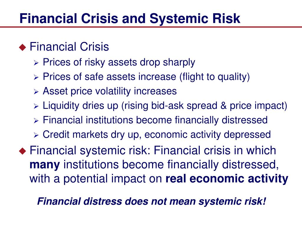 Financial Crisis and Systemic Risk
