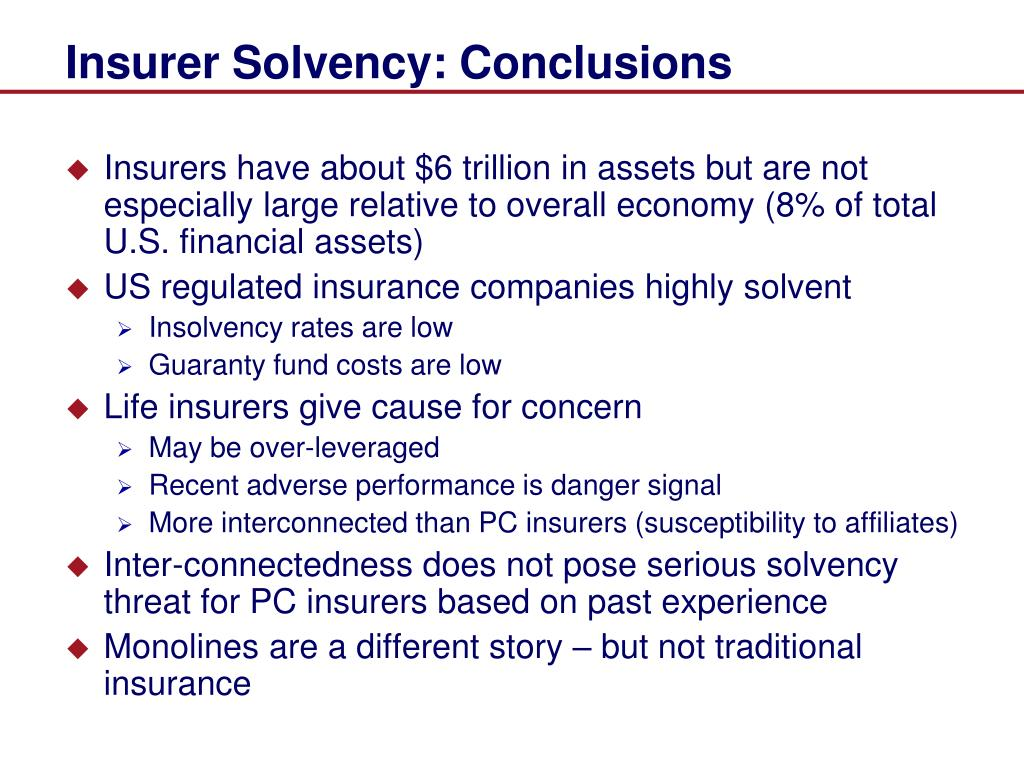Insurer Solvency: Conclusions