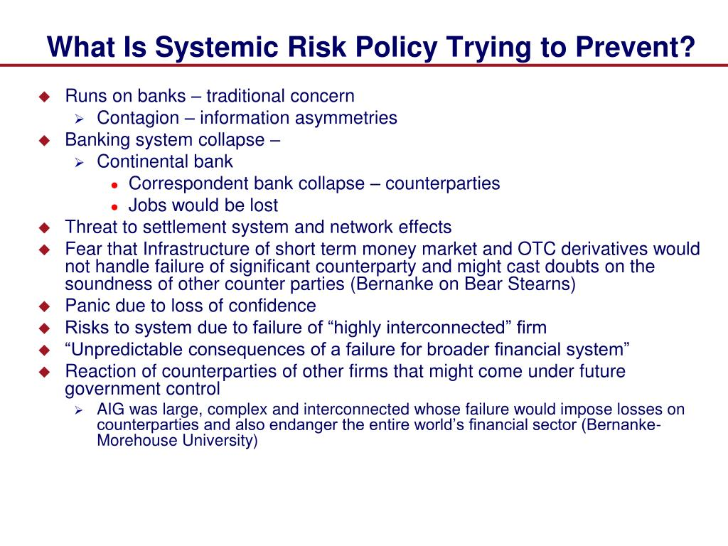 What Is Systemic Risk Policy Trying to Prevent?