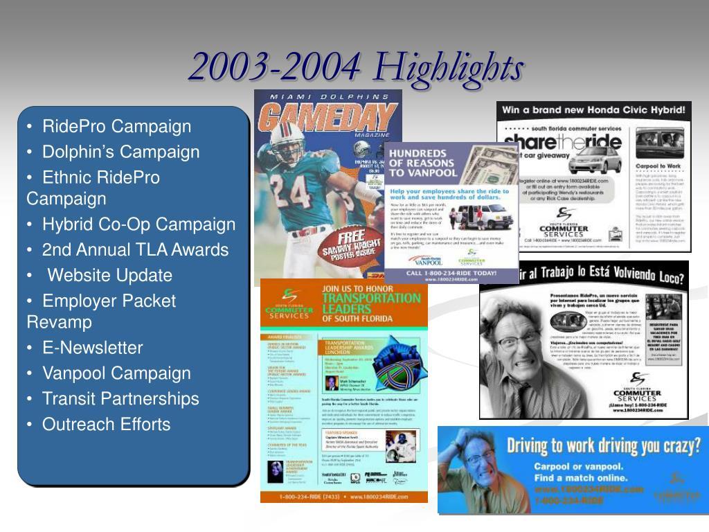 2003-2004 Highlights