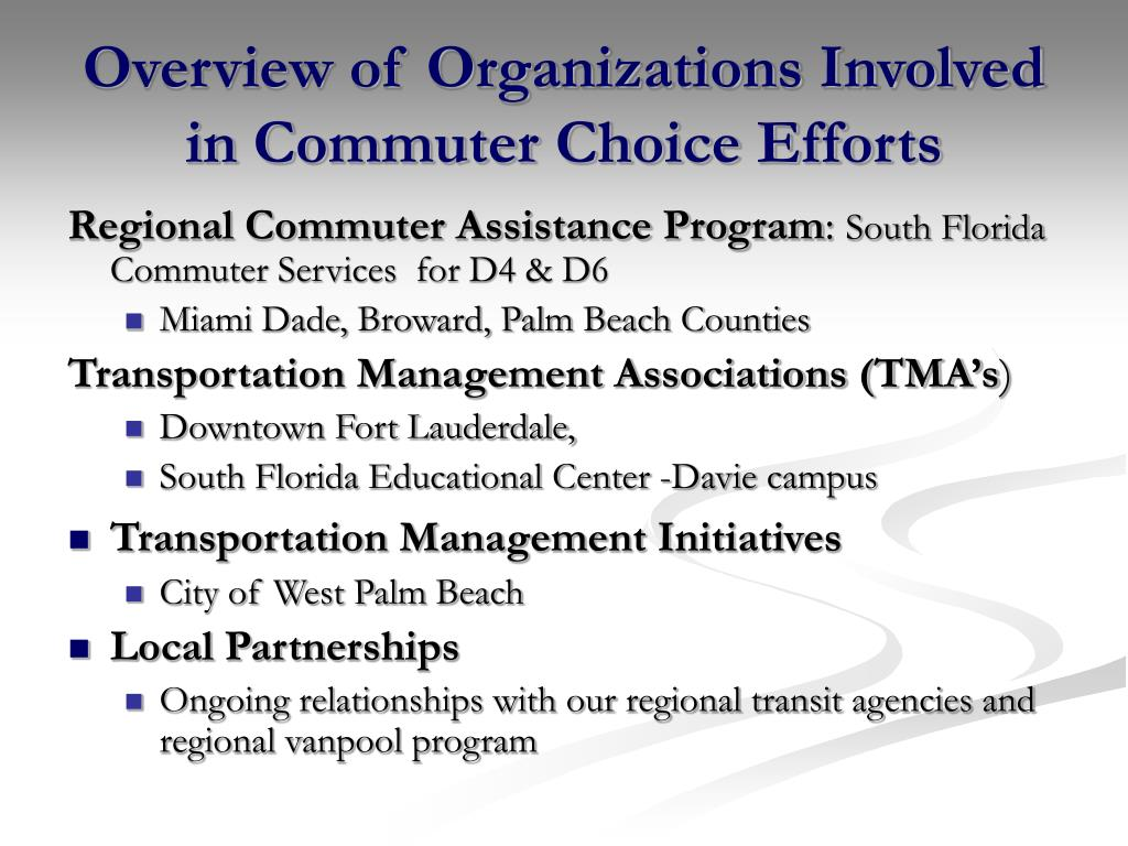 Overview of Organizations Involved in Commuter Choice Efforts