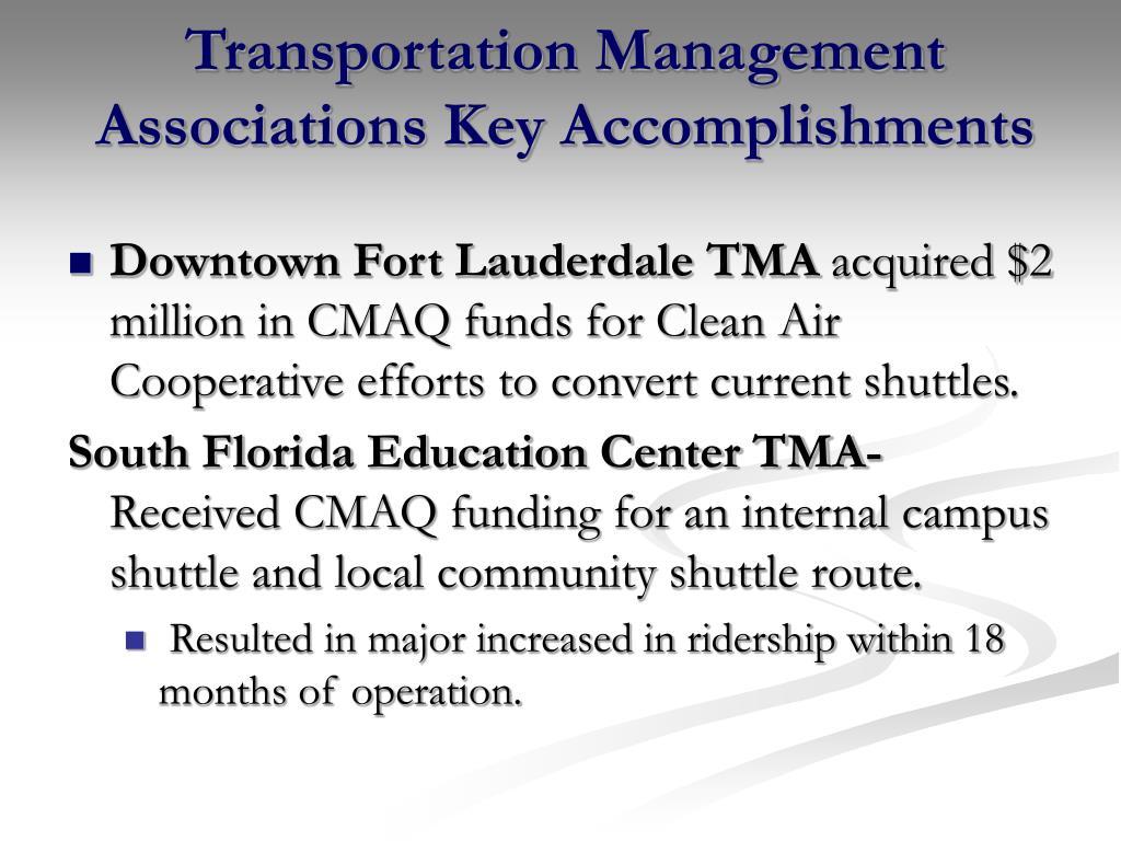 Transportation Management Associations Key Accomplishments