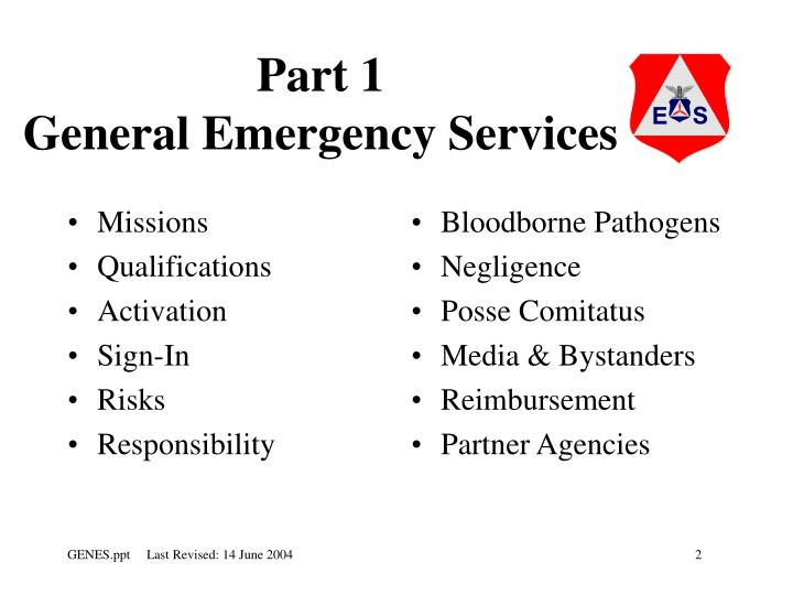 Part 1 general emergency services