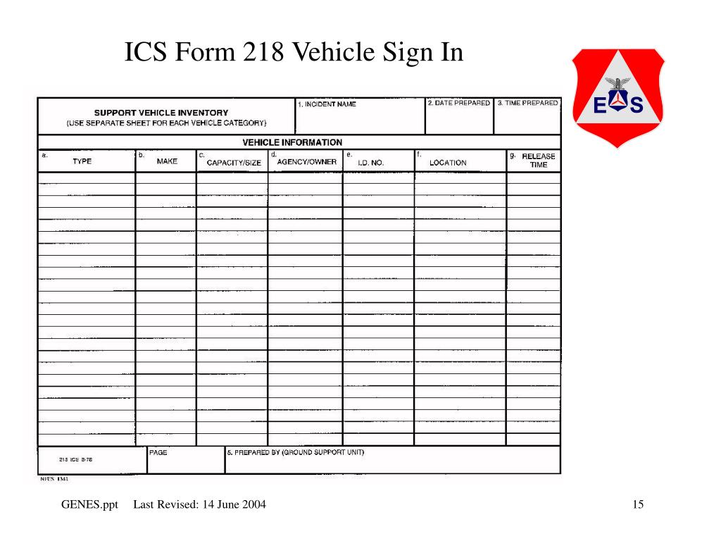 ICS Form 218 Vehicle Sign In
