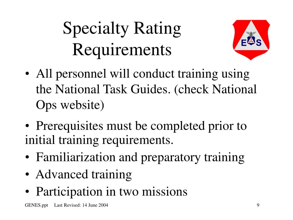 Specialty Rating Requirements