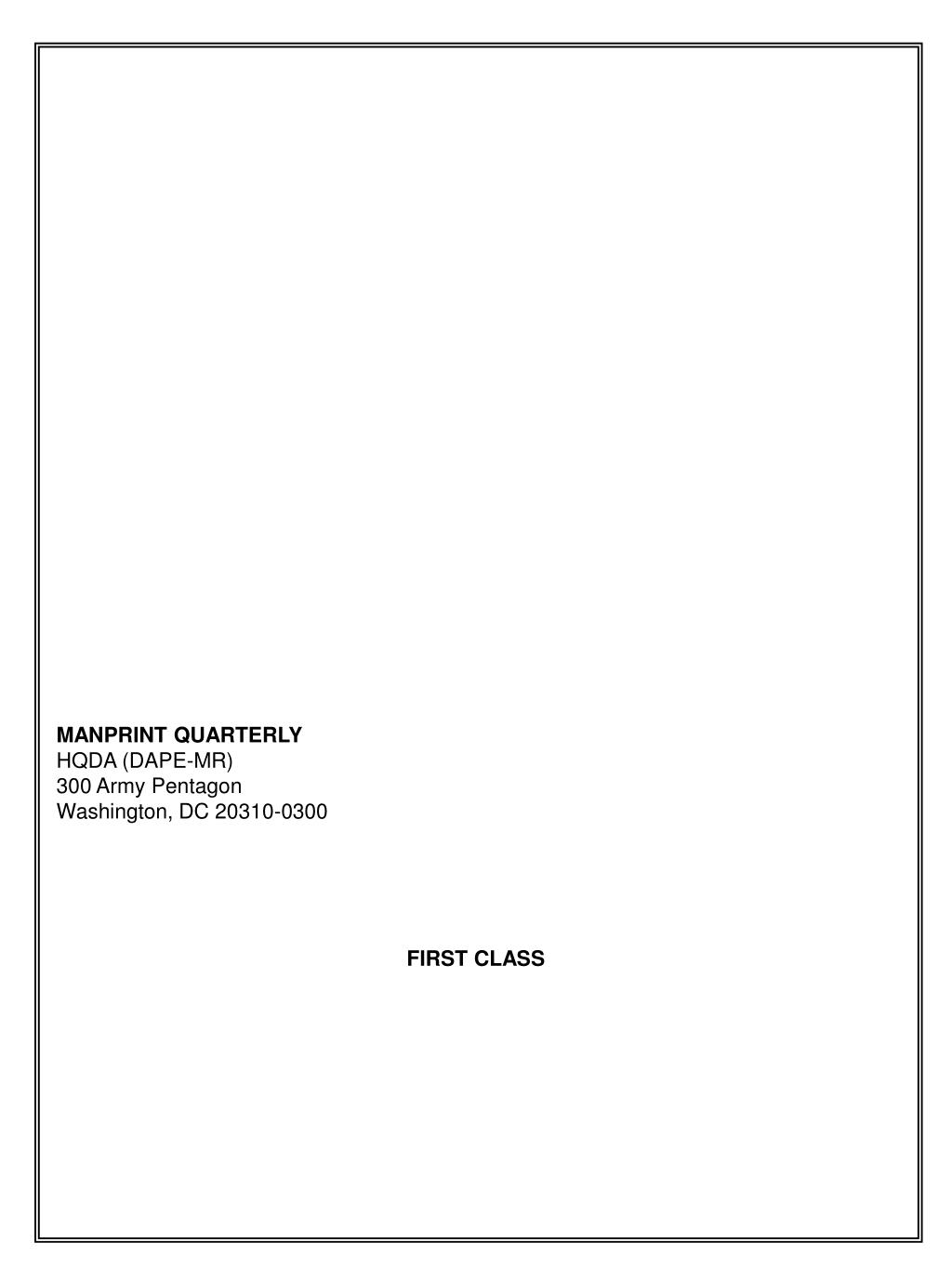 MANPRINT QUARTERLY