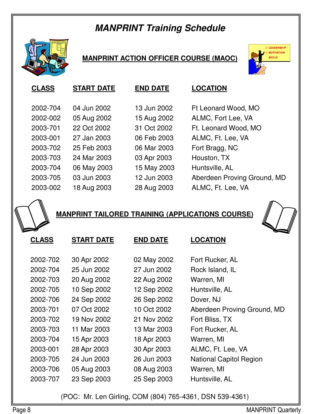 MANPRINT Training Schedule