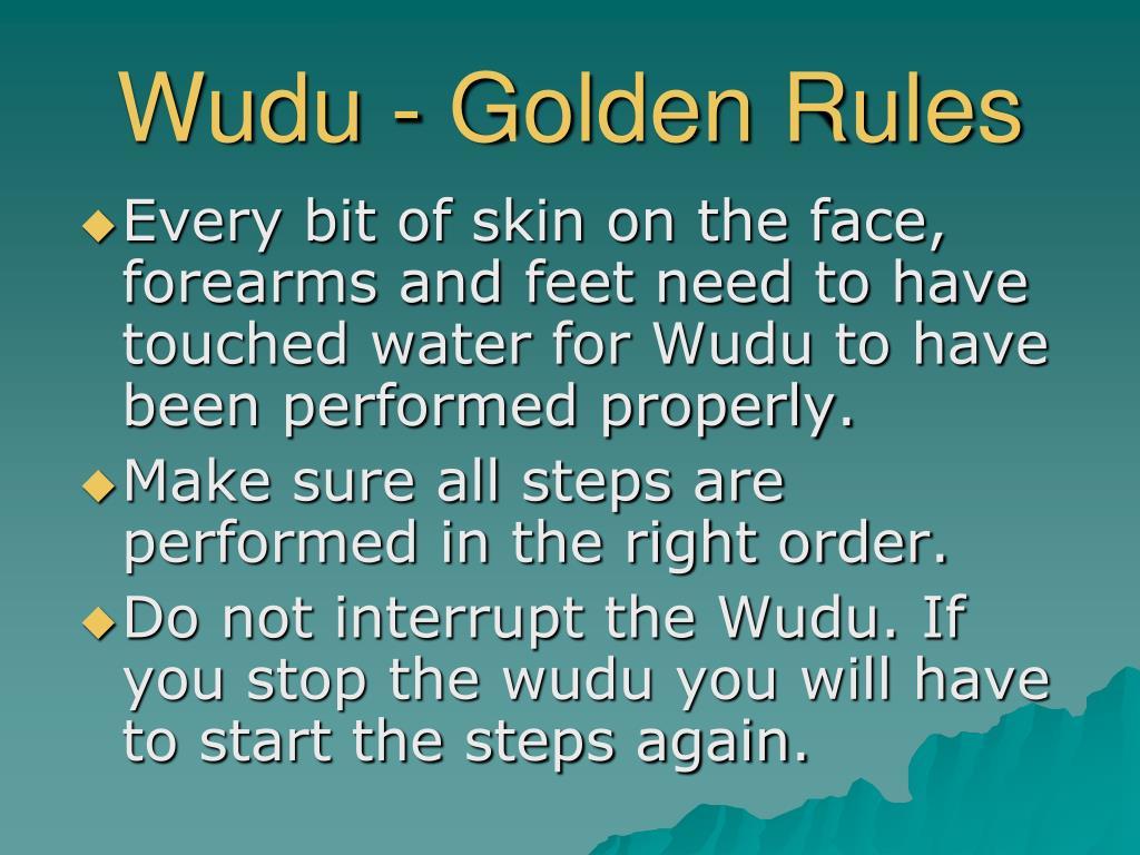 Wudu - Golden Rules