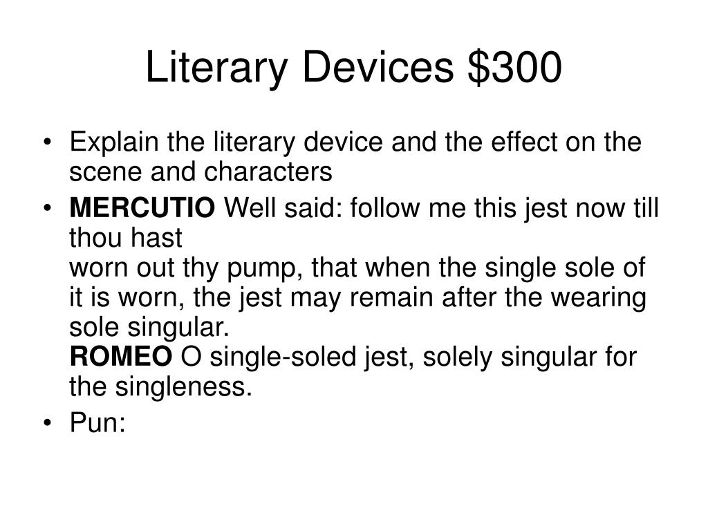Literary Devices $300
