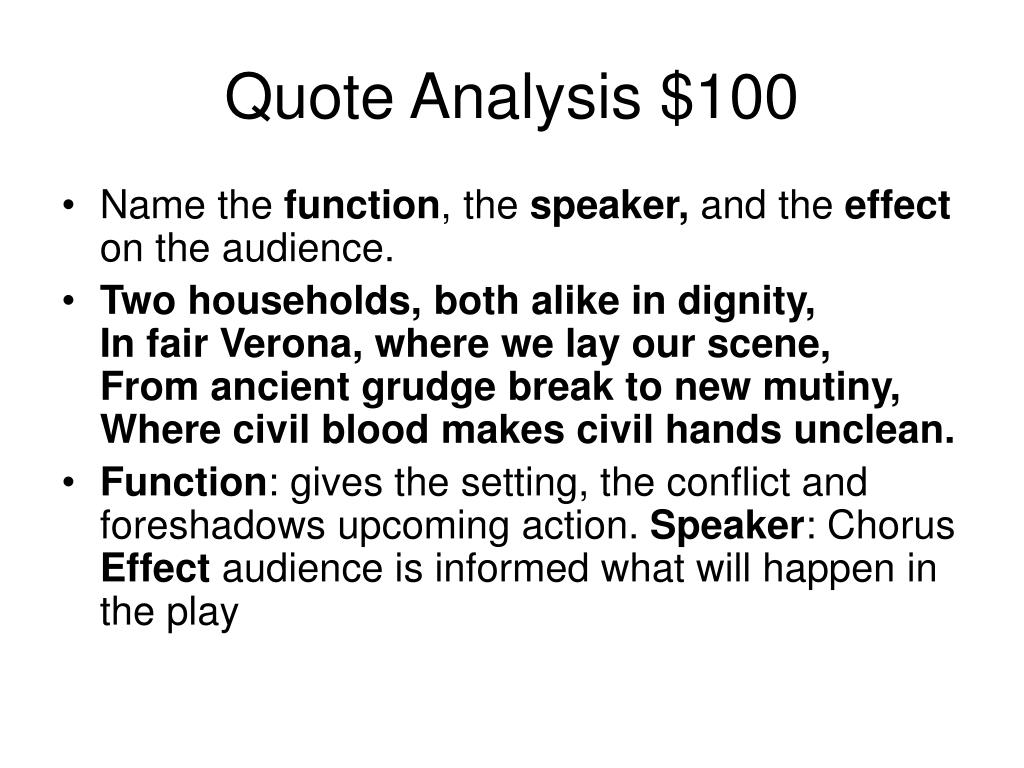 Quote Analysis $100