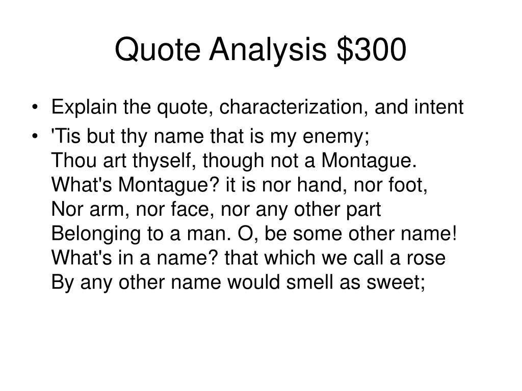Quote Analysis $300