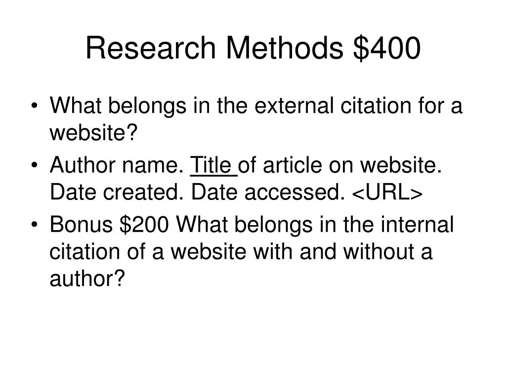 Research Methods $400
