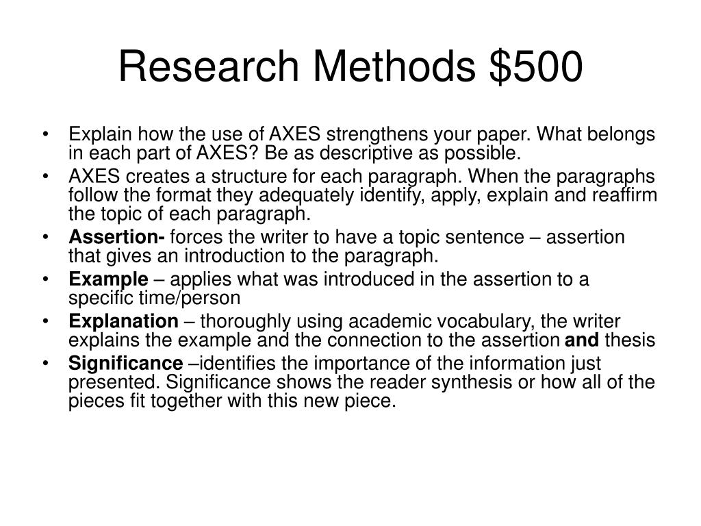 Research Methods $500