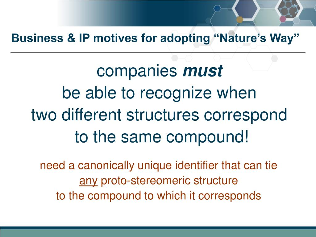 """Business & IP motives for adopting """"Nature's Way"""""""