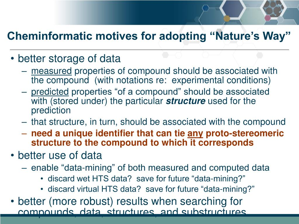 """Cheminformatic motives for adopting """"Nature's Way"""""""